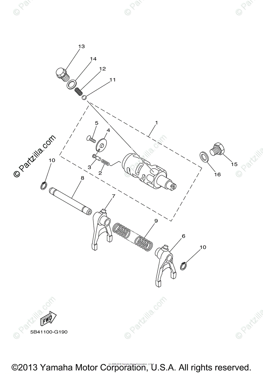 Yamaha Side by Side 2008 OEM Parts Diagram for Shift Cam