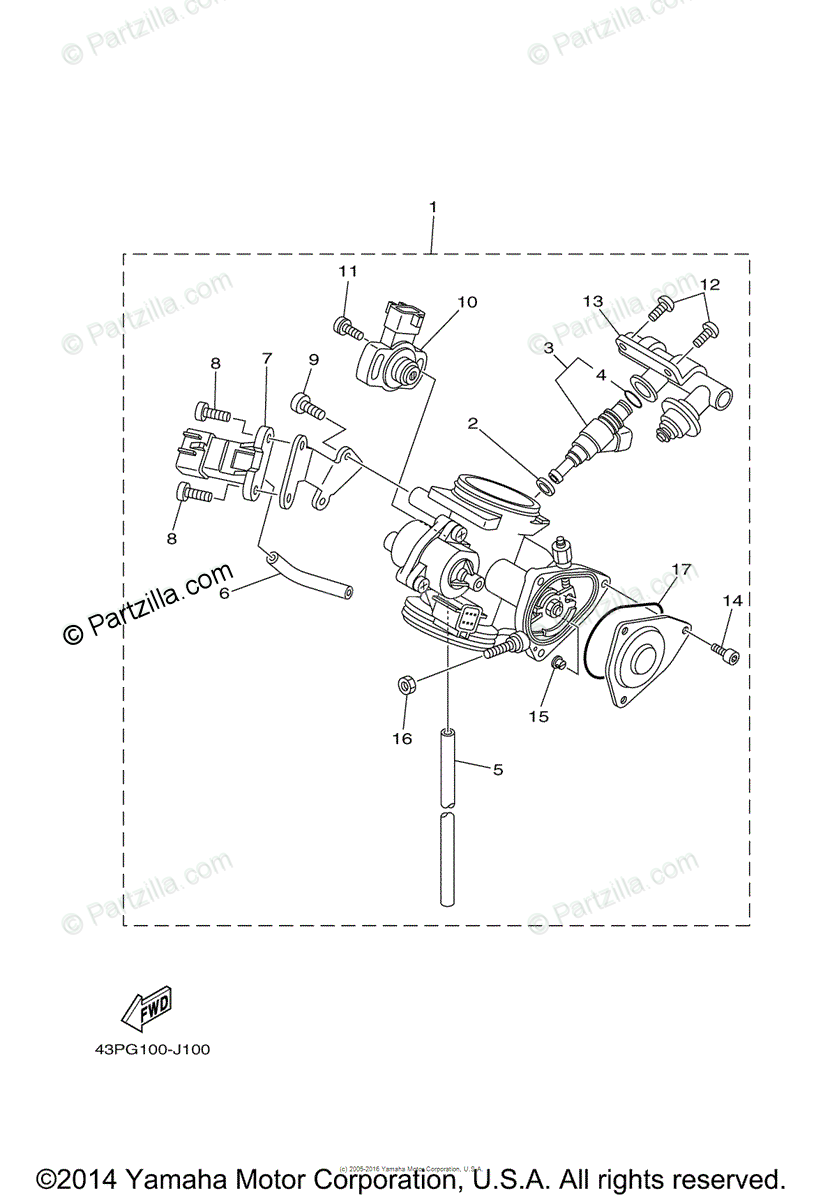Yamaha ATV 2010 OEM Parts Diagram for Throttle Body Assy