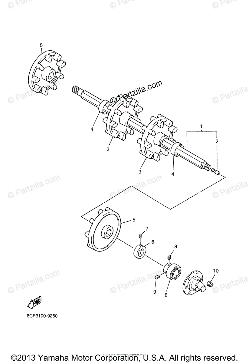 Yamaha Snowmobile 2000 OEM Parts Diagram for Track Drive 1