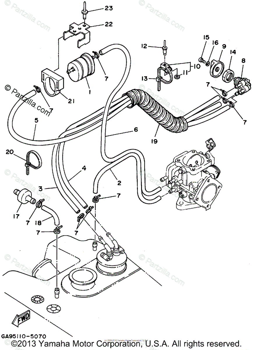 Yamaha Waverunner 1995 OEM Parts Diagram for Fuel