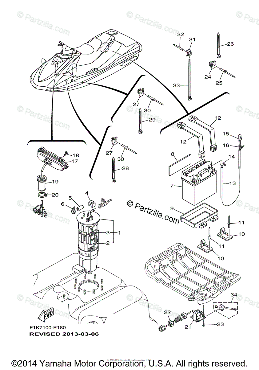Yamaha Waverunner 2006 OEM Parts Diagram for Electrical