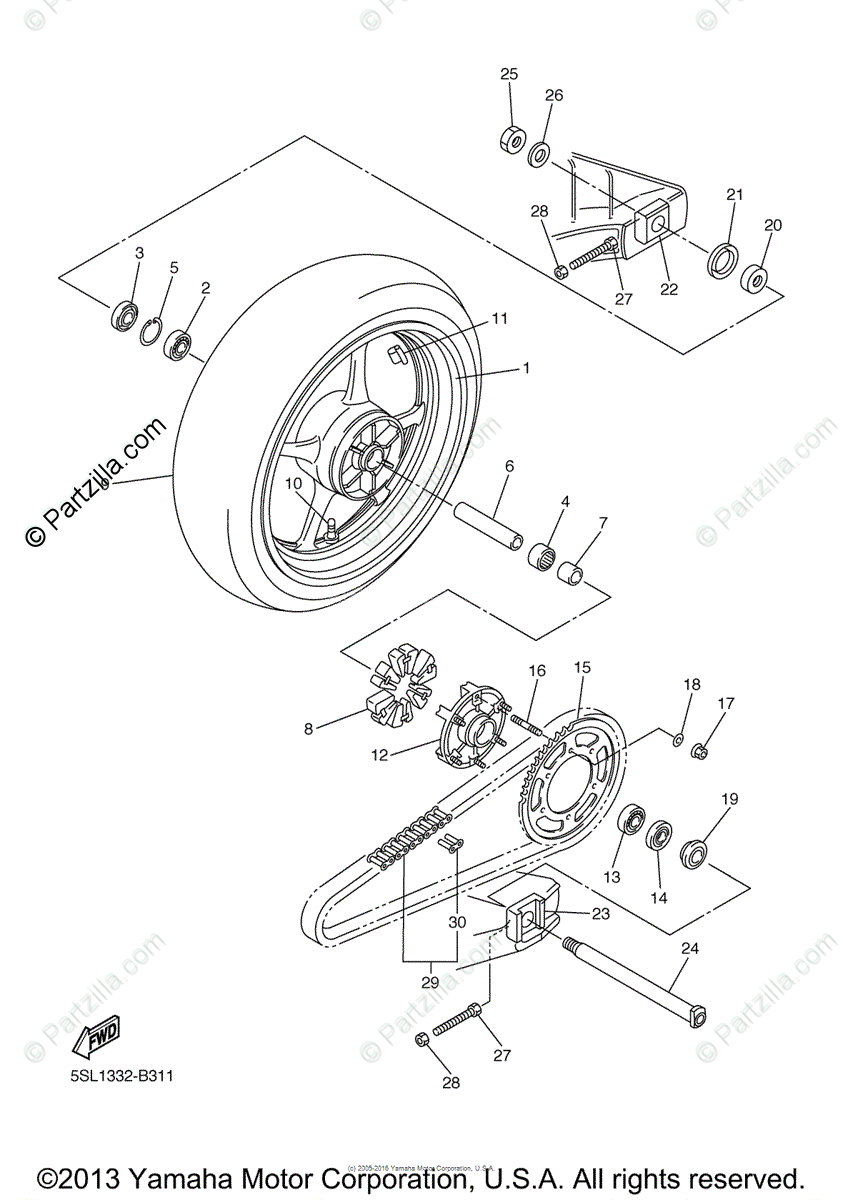 Yamaha Motorcycle 2005 OEM Parts Diagram for Rear Wheel