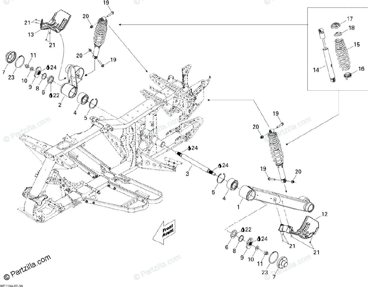 Can-Am ATV 2011 OEM Parts Diagram for Rear suspension