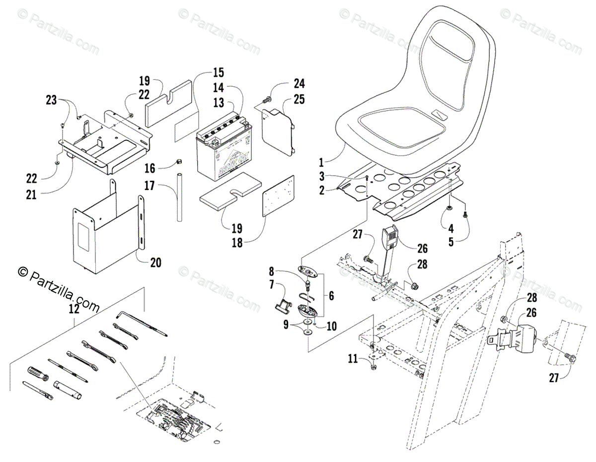 Arctic Cat Side by Side 2008 OEM Parts Diagram for Seat