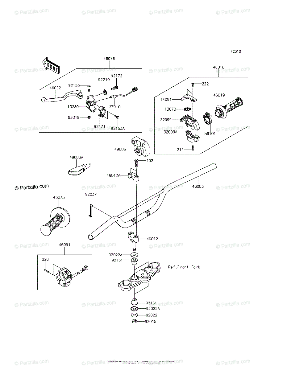 Kawasaki Motorcycle 2013 OEM Parts Diagram for Handlebar