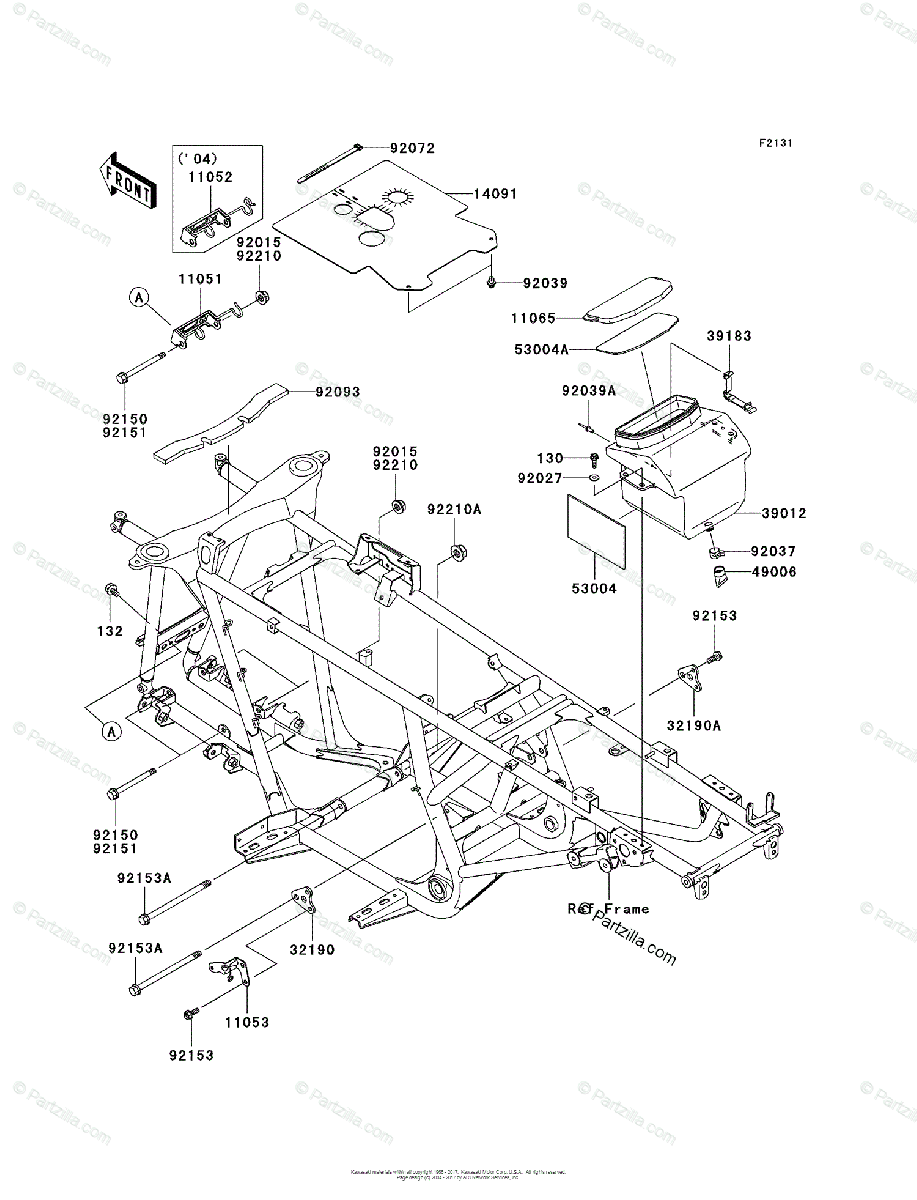 Kawasaki ATV 2004 OEM Parts Diagram for Frame & Fittings