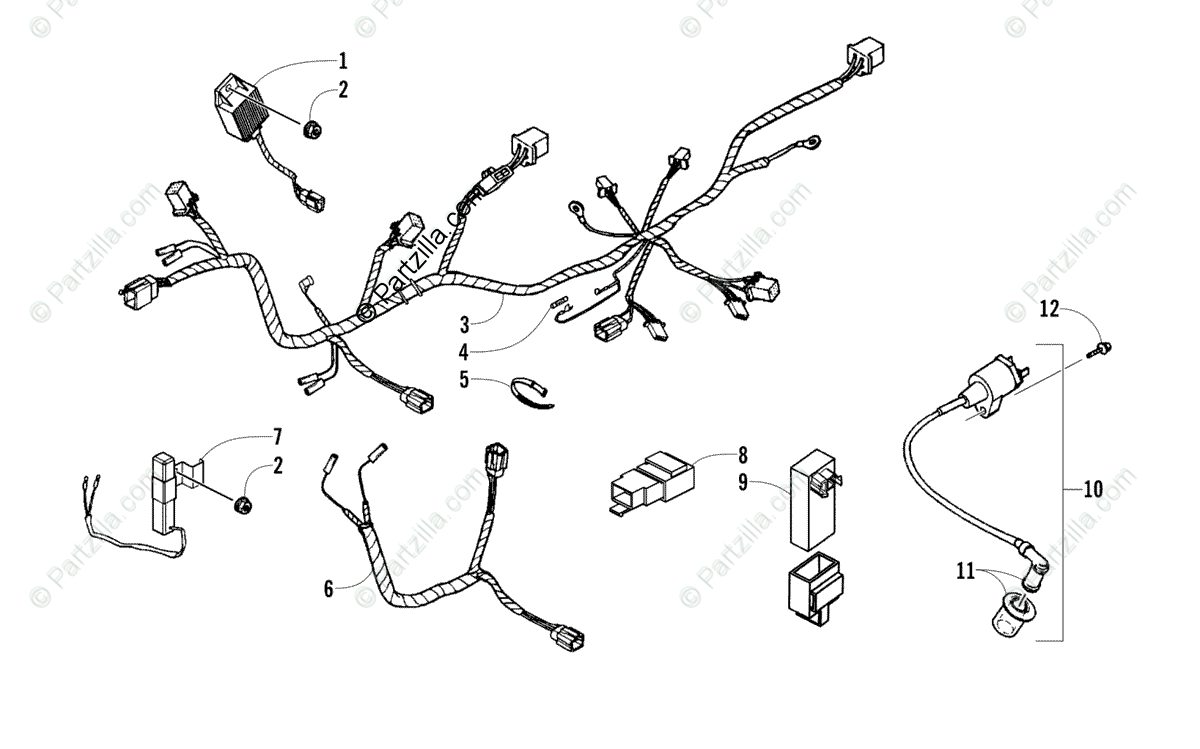 Arctic Cat ATV 2012 OEM Parts Diagram for Electrical And