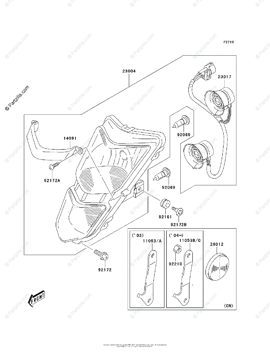 Kawasaki ATV 2004 OEM Parts Diagram for Headlight(s