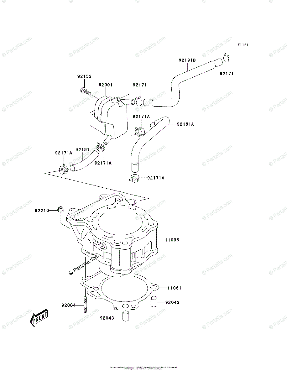 Kawasaki ATV 2003 OEM Parts Diagram for Cylinder