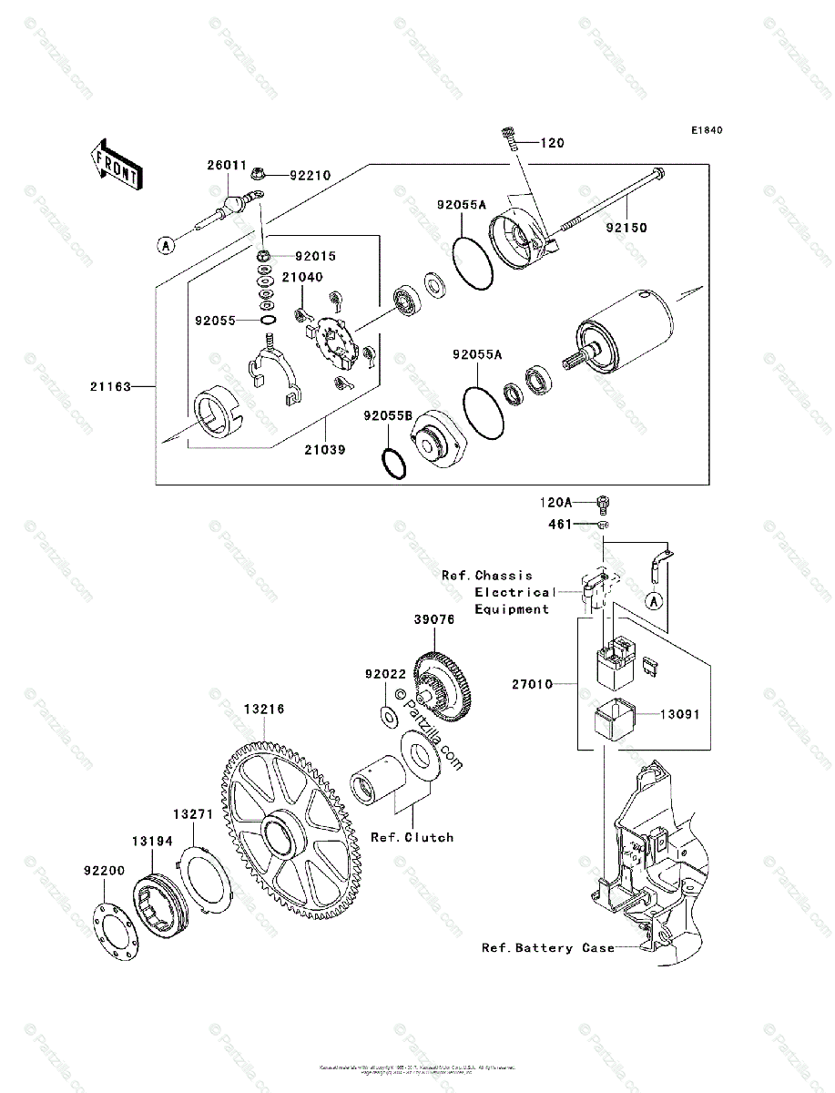 Kawasaki Motorcycle 2004 OEM Parts Diagram for Starter