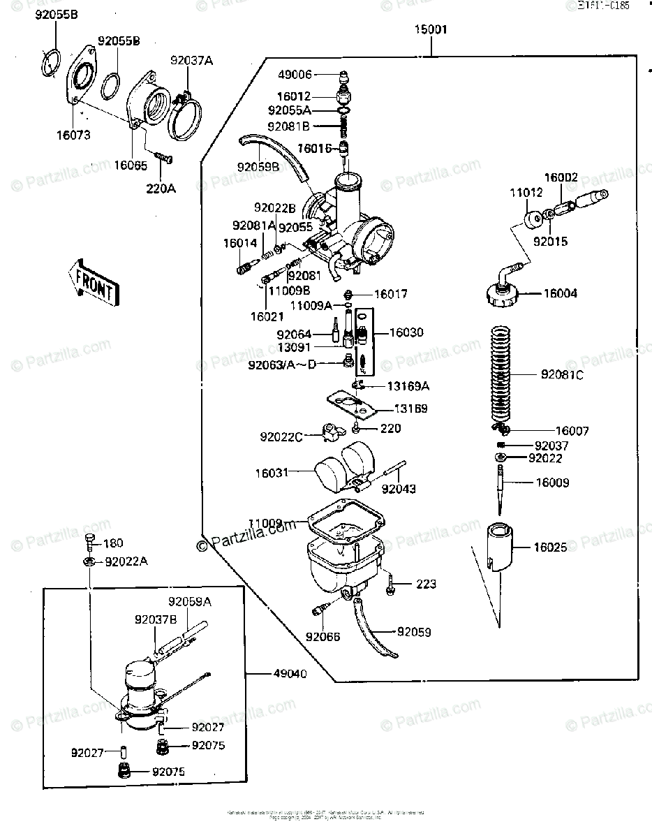Kawasaki ATV 1985 OEM Parts Diagram for Carburetor, Fuel