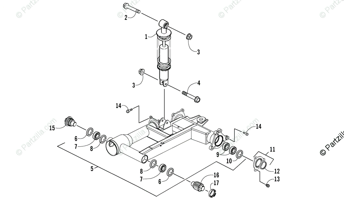 Arctic Cat ATV 2008 OEM Parts Diagram for Rear Suspension