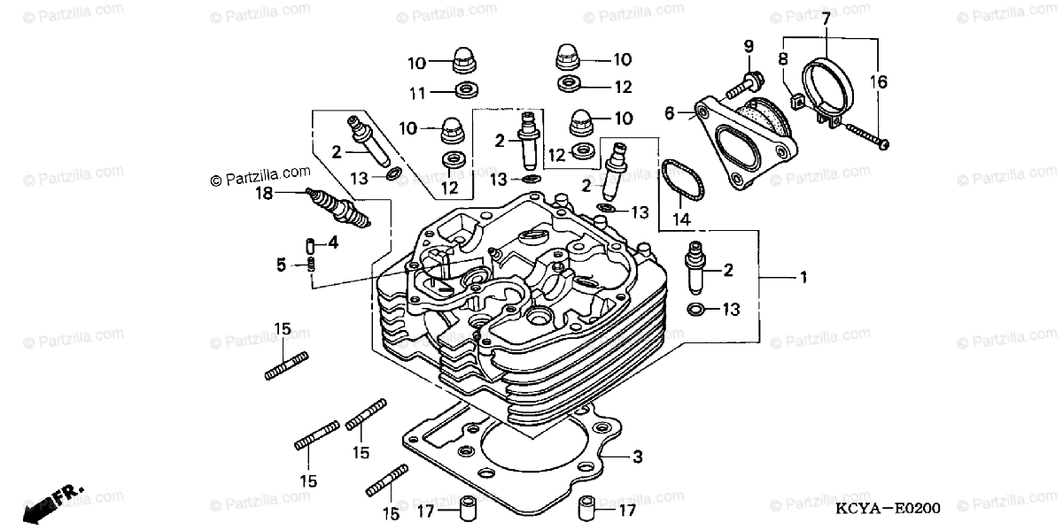Honda Motorcycle 2004 OEM Parts Diagram for Cylinder Head