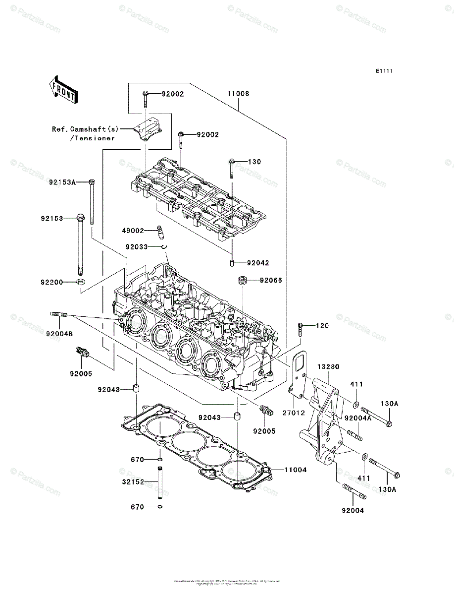 Kawasaki Jet Ski 2011 OEM Parts Diagram for CYLINDER HEAD