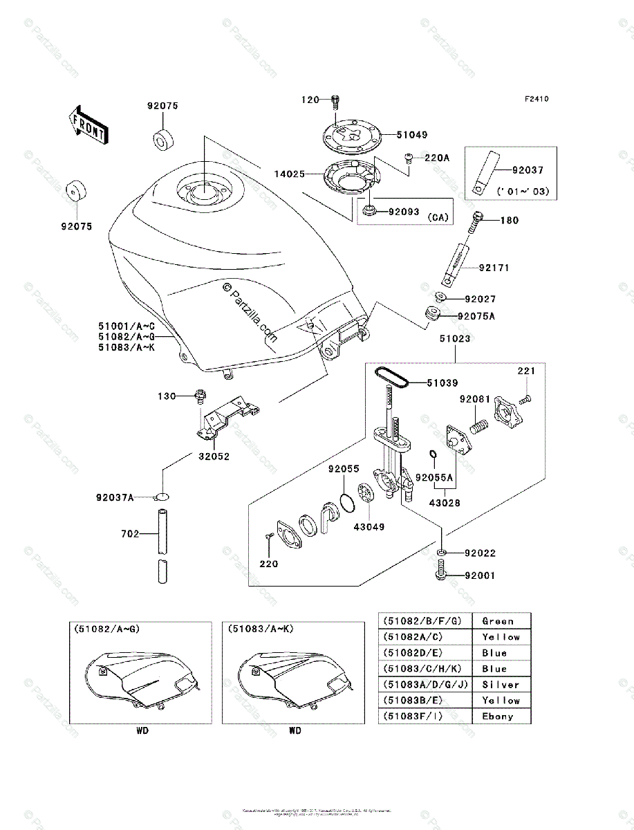 Kawasaki Motorcycle 2004 OEM Parts Diagram for Fuel Tank