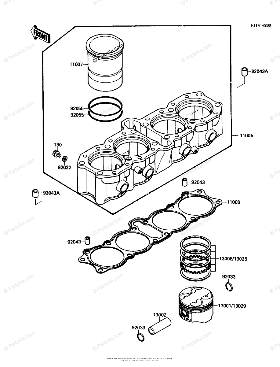 Kawasaki Motorcycle 1989 OEM Parts Diagram for Cylinder