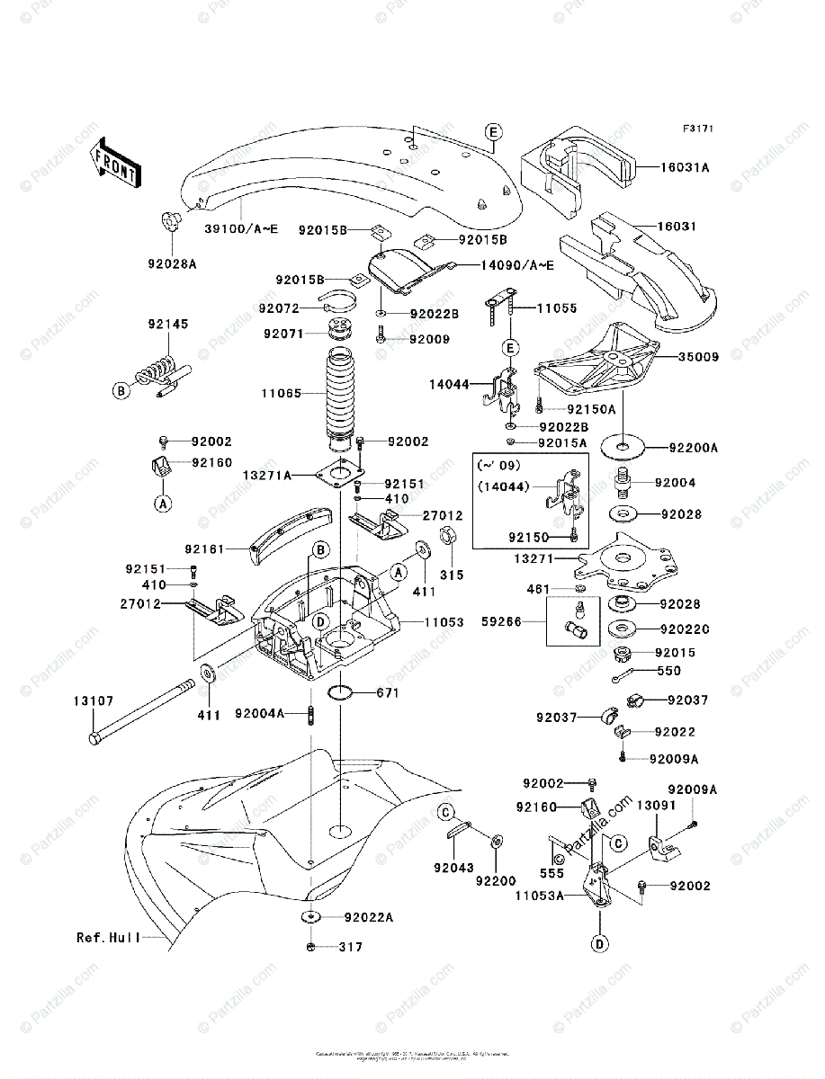 Kawasaki Jet Ski 2008 OEM Parts Diagram for Handle Pole