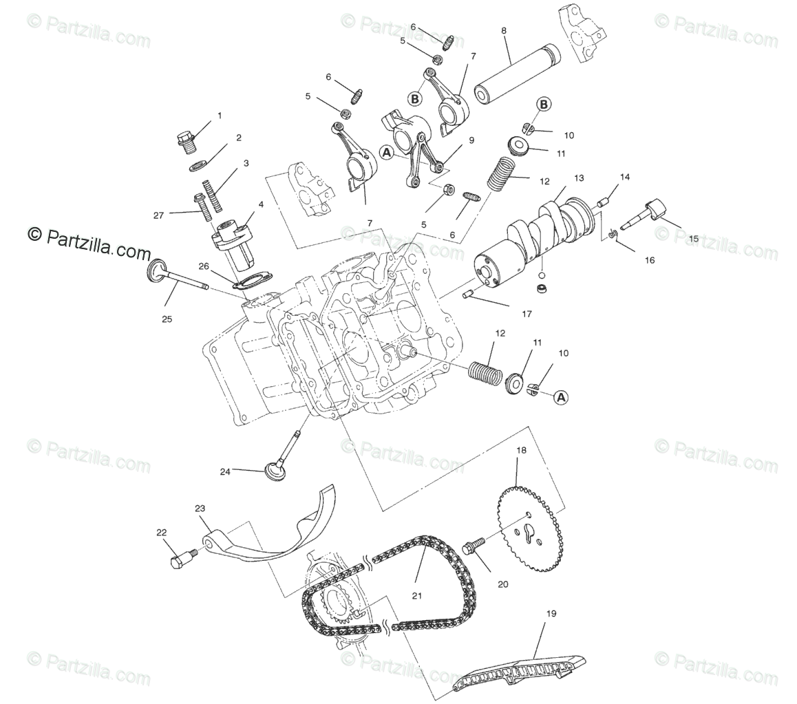 Polaris ATV 2002 OEM Parts Diagram for Intake And Exhaust