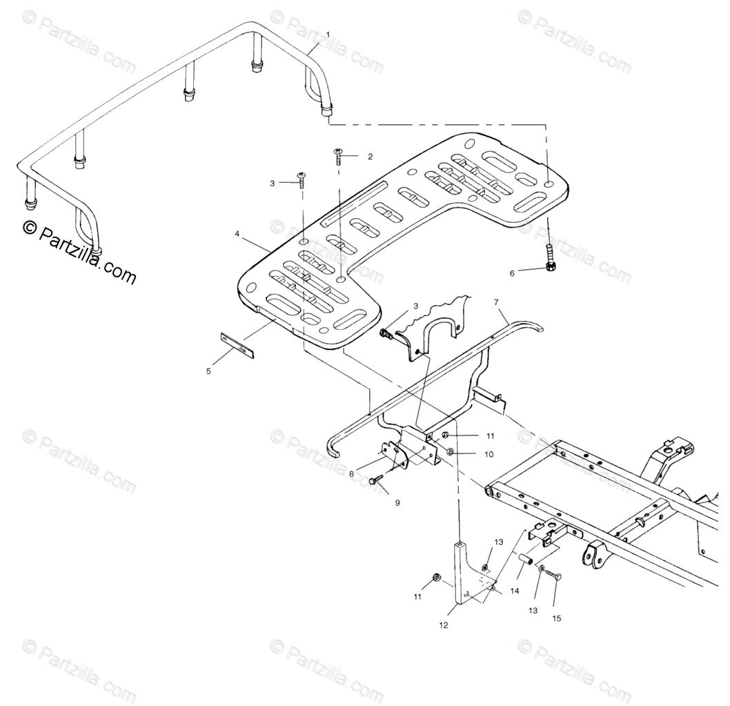 Polaris ATV 1999 OEM Parts Diagram for Rear Rack Mounting
