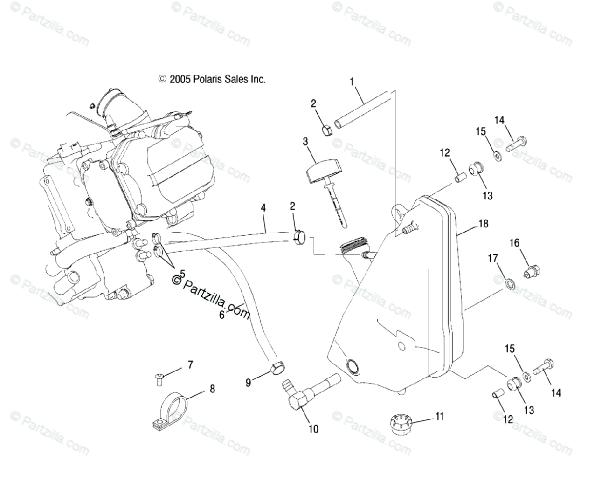 Polaris ATV 2008 OEM Parts Diagram for Engine, Oil System
