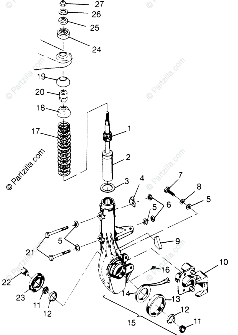 Polaris ATV 1996 OEM Parts Diagram for Front Strut