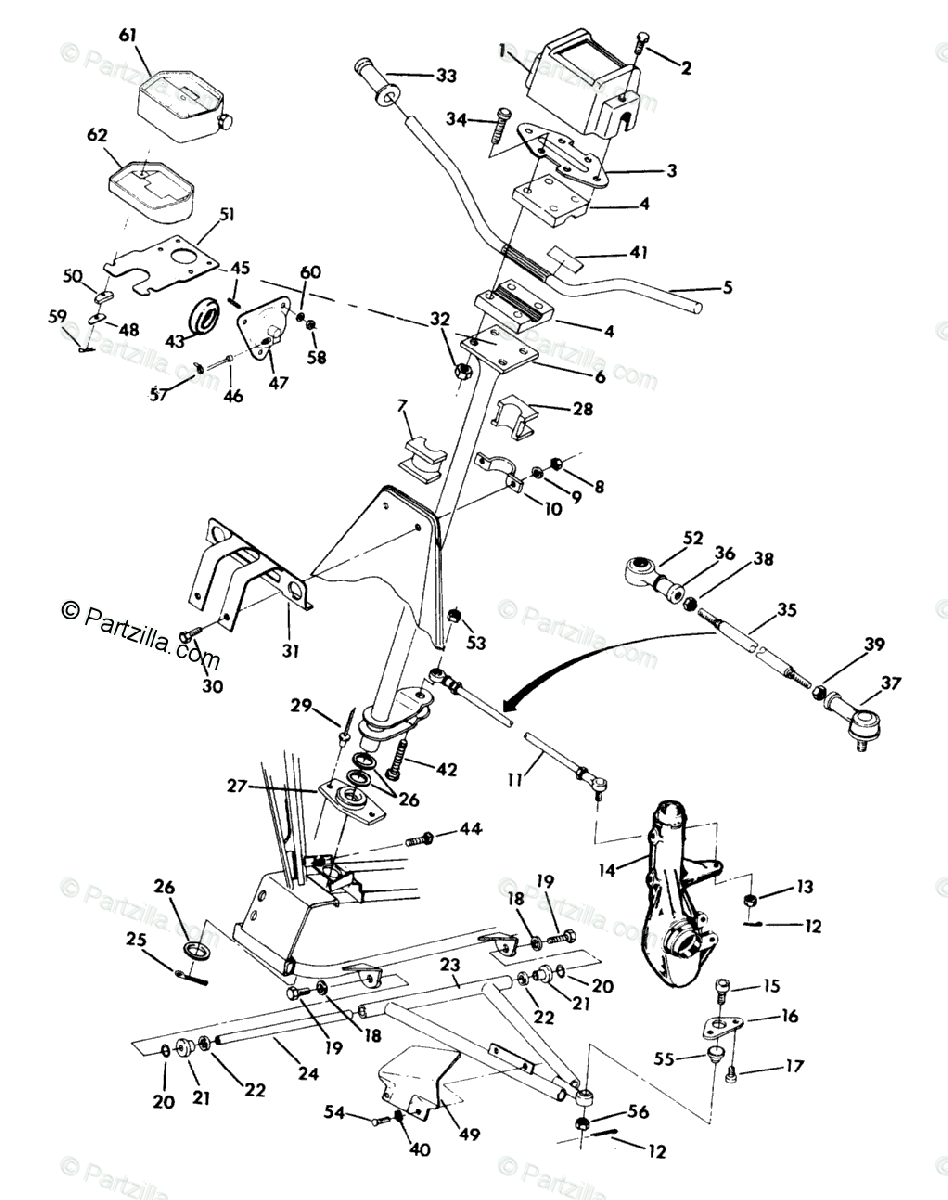 Polaris ATV 1991 OEM Parts Diagram for Steering Assembly
