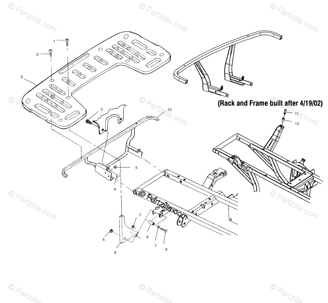 Polaris ATV 2002 OEM Parts Diagram for Rear Rack Mounting