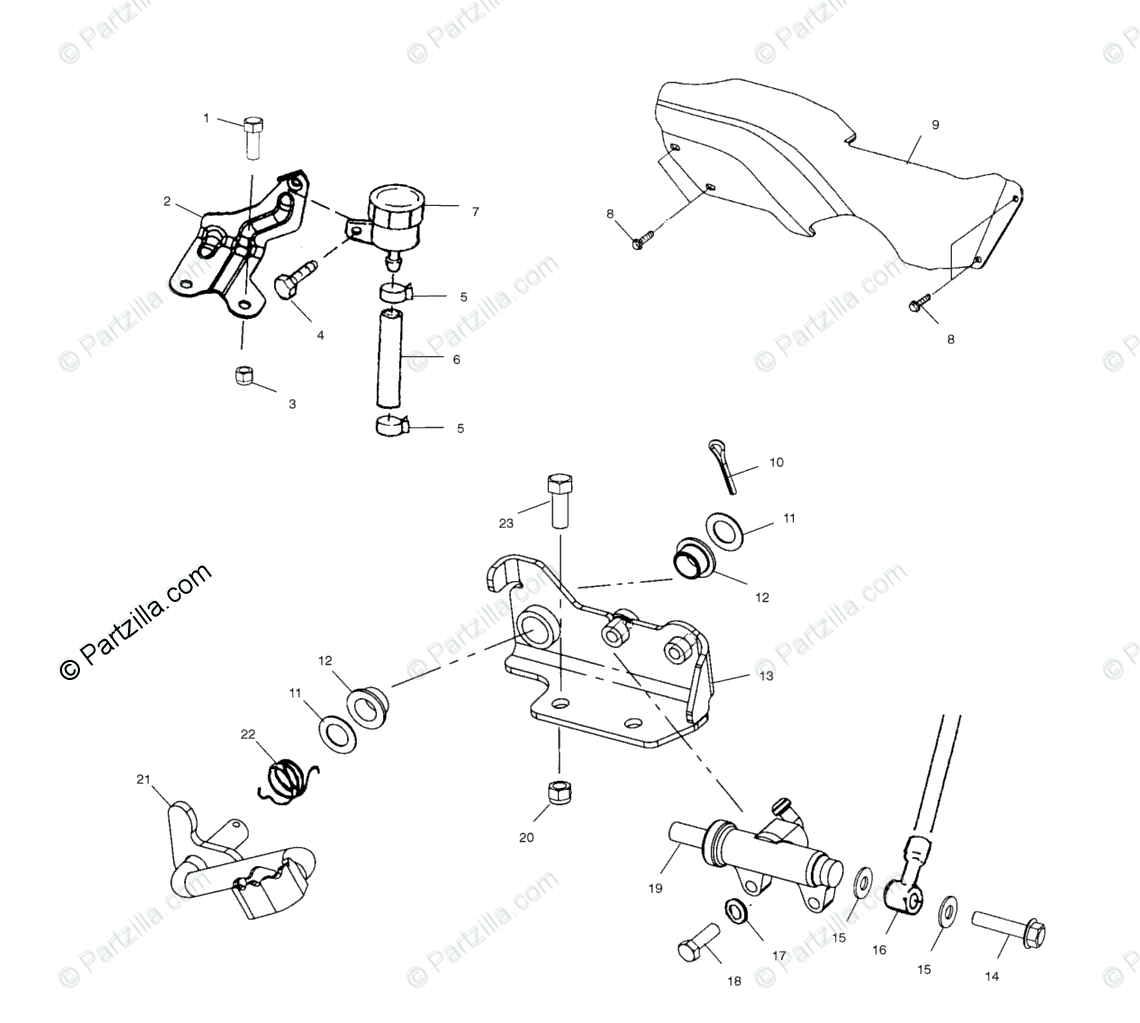 Polaris ATV 2001 OEM Parts Diagram for Rear Brake Master
