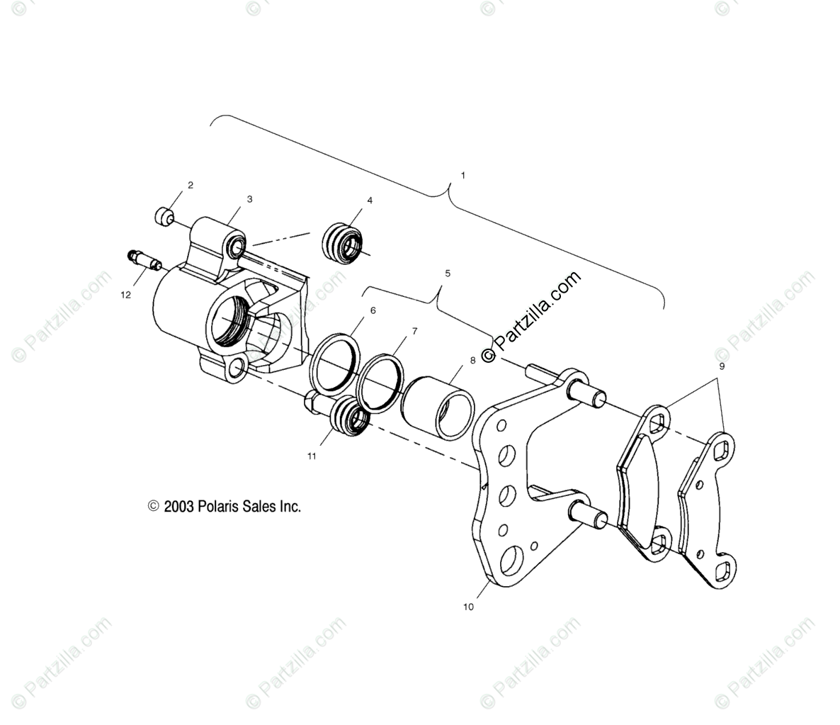 Polaris ATV 2004 OEM Parts Diagram for Front Brake