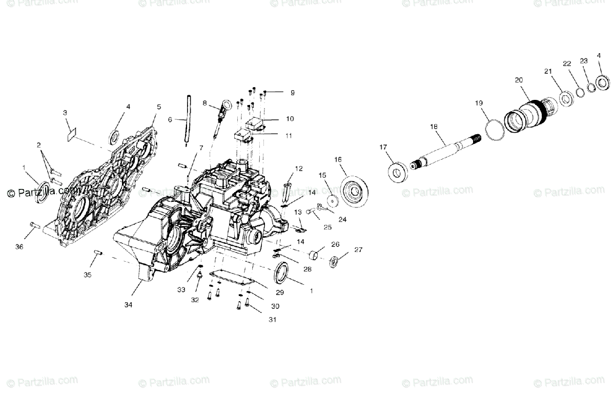 Polaris ATV 2002 OEM Parts Diagram for Gearcase A02ch42aa