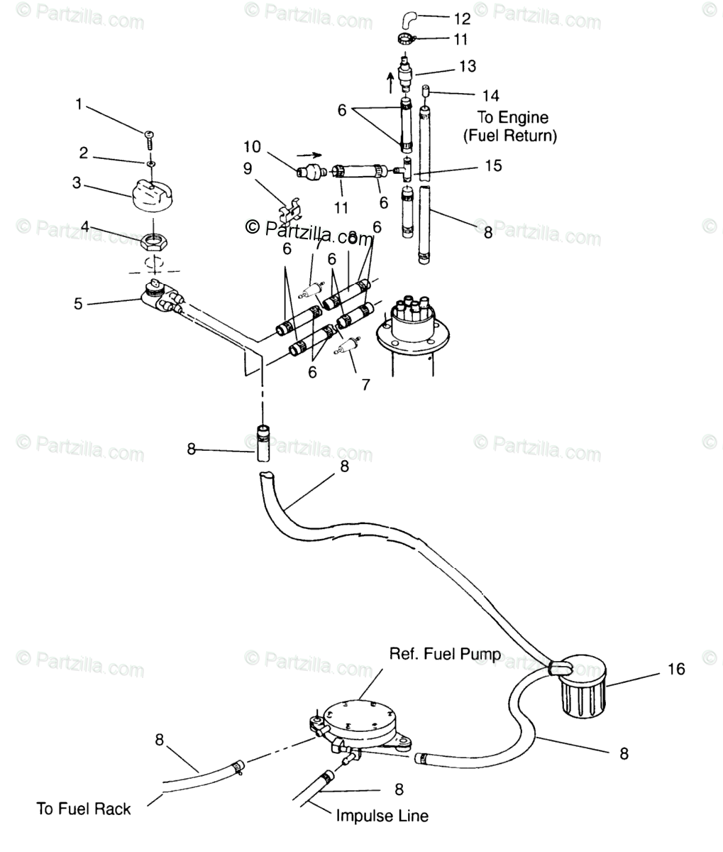Polaris Watercraft 1995 OEM Parts Diagram for Fuel System
