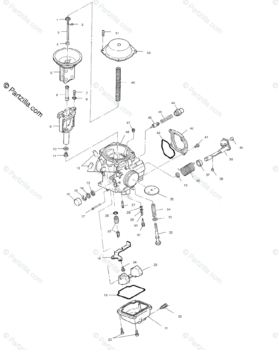 Polaris ATV 2002 OEM Parts Diagram for Carburetor