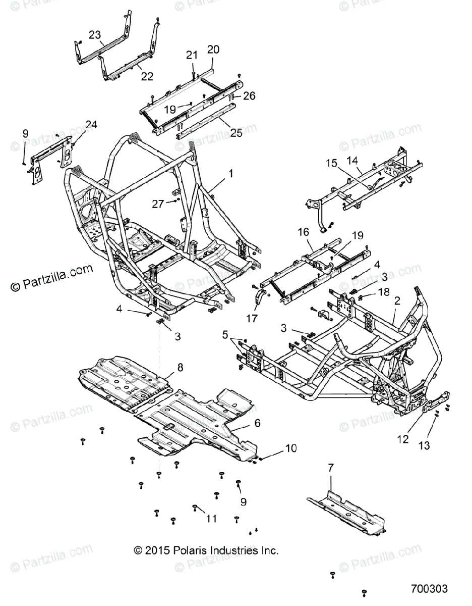 Polaris Side by Side 2017 OEM Parts Diagram for Chassis