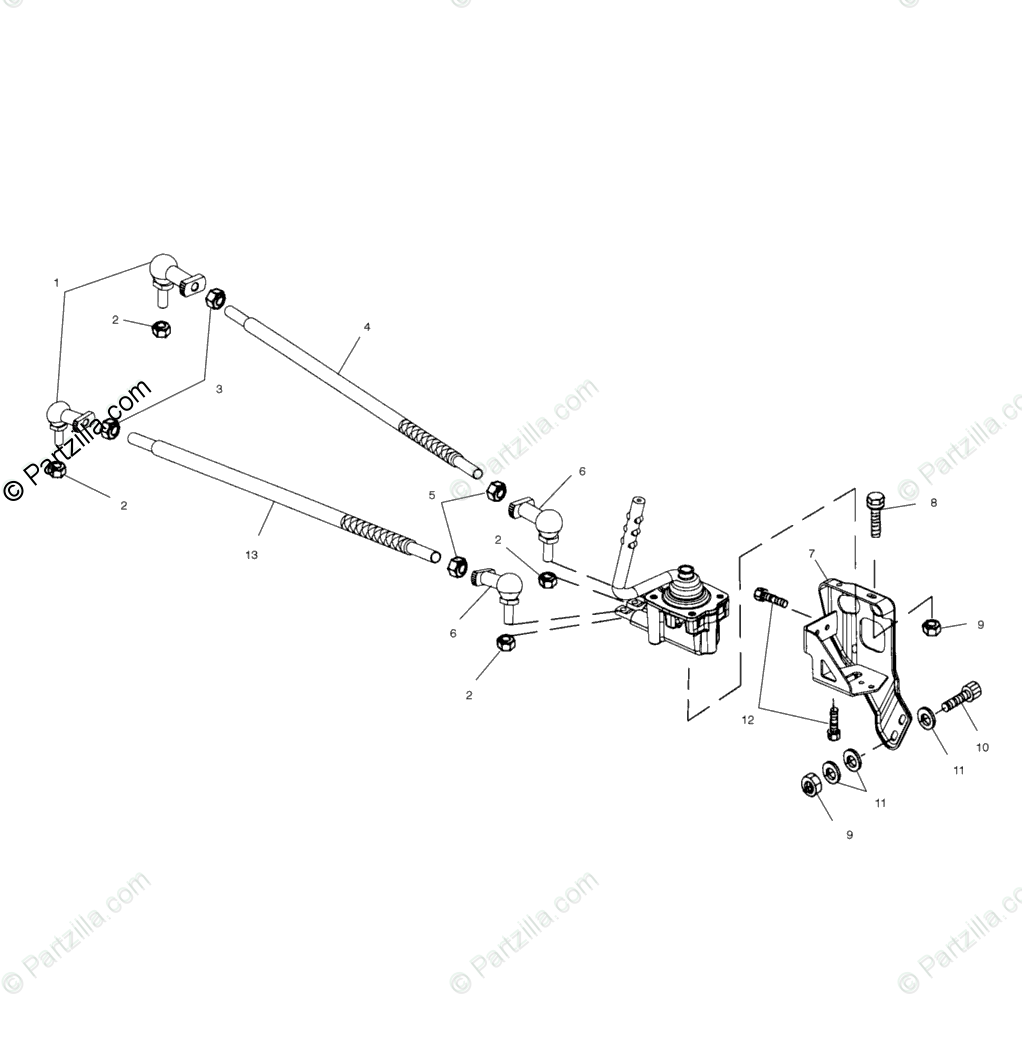 Polaris ATV 2000 OEM Parts Diagram for Gearcase Selector