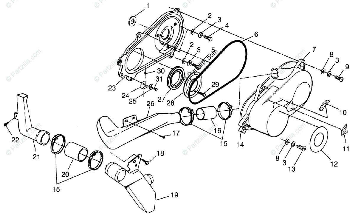 Polaris ATV 1996 OEM Parts Diagram for Clutch Cover