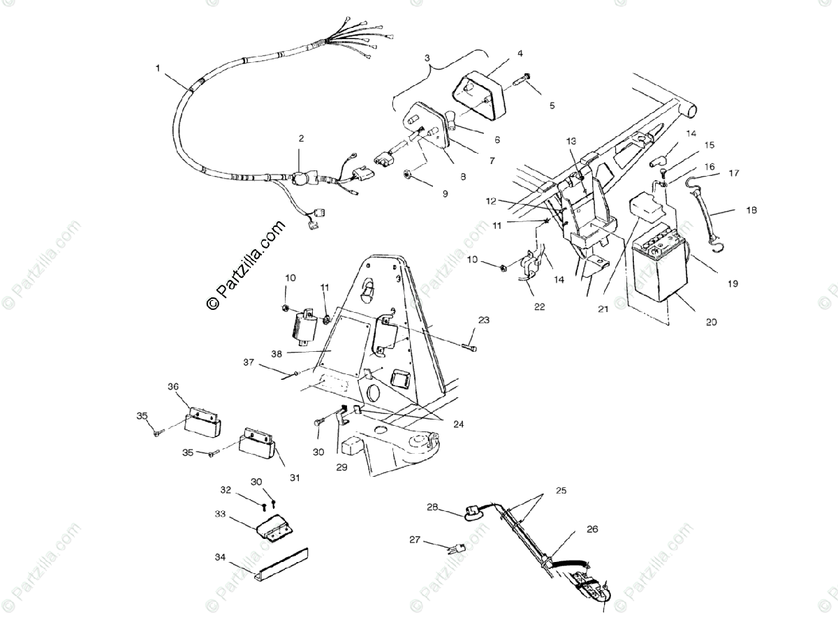 Polaris ATV 1999 OEM Parts Diagram for Electrical