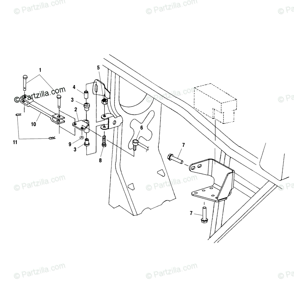 Polaris ATV 2001 OEM Parts Diagram for Frame Mounting