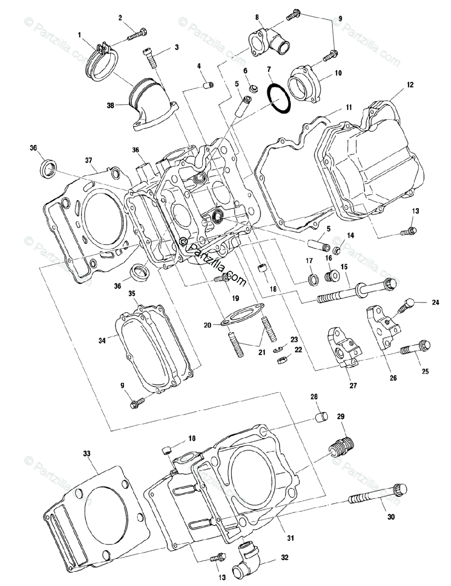 Polaris ATV 2000 OEM Parts Diagram for Cylinder A00ch50ak