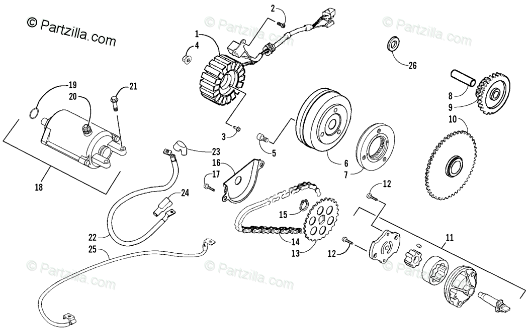 Arctic Cat ATV 2008 OEM Parts Diagram for STARTER MOTOR