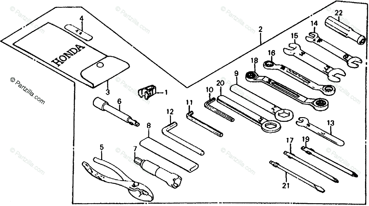 Honda Motorcycle 1985 OEM Parts Diagram for Tools