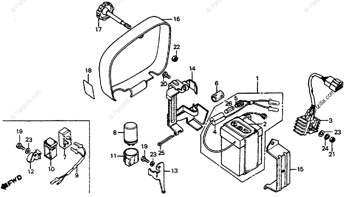 Honda Motorcycle 1977 OEM Parts Diagram for Battery Box