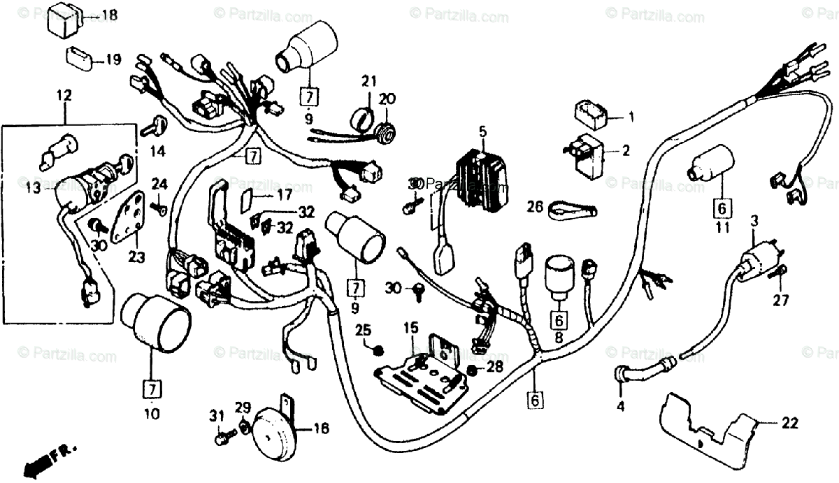 Honda Scooter 1985 OEM Parts Diagram for Wire Harness