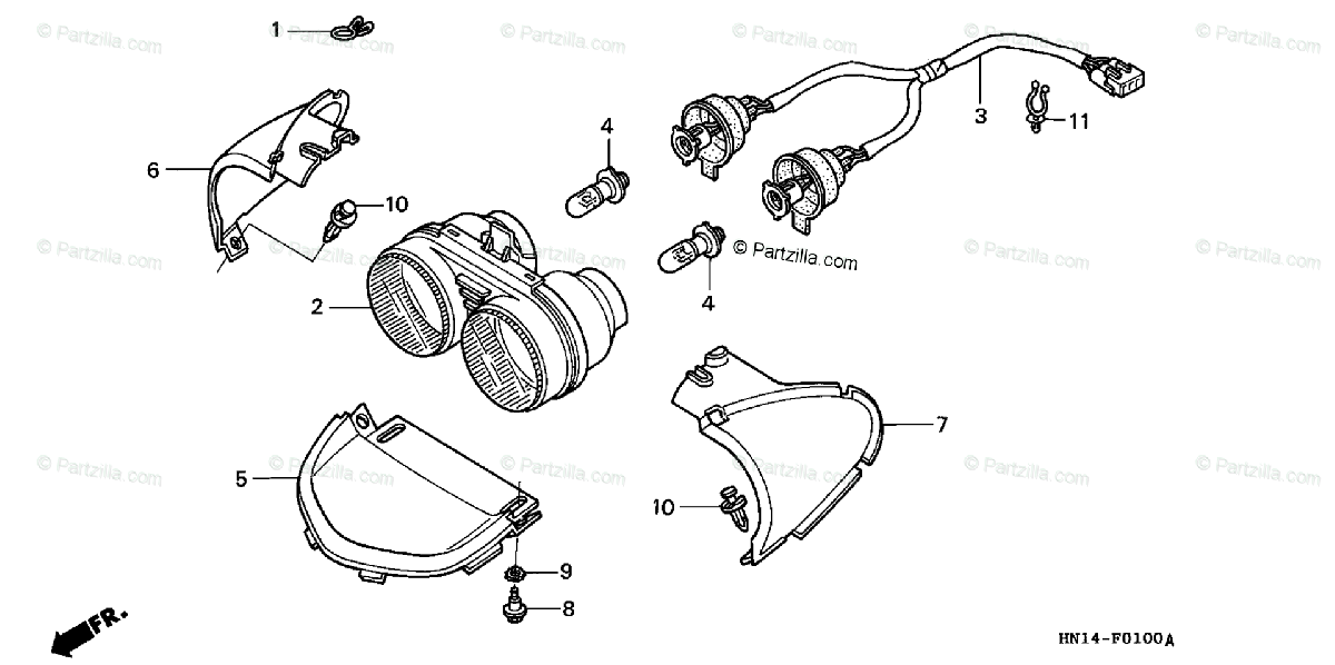 Honda ATV 2004 OEM Parts Diagram for Headlight ('99-'04