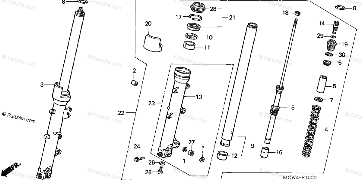 Honda Motorcycle 2002 OEM Parts Diagram for Front Fork