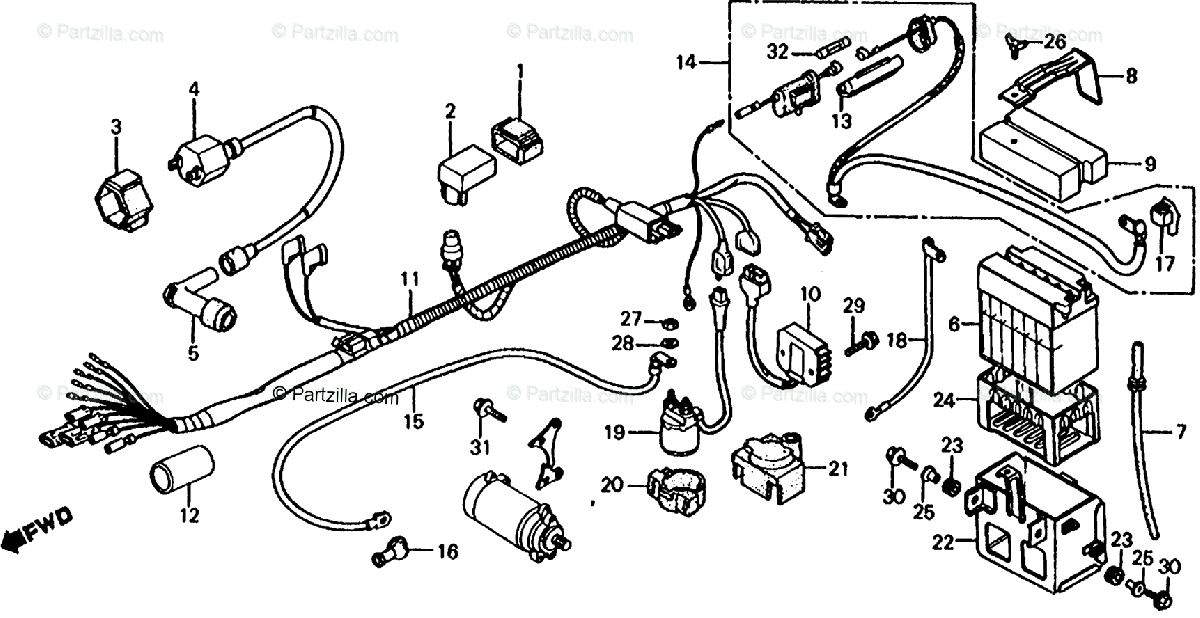 Honda ATV 1986 OEM Parts Diagram for Wire Harness