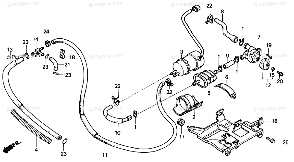 Honda Motorcycle 1986 OEM Parts Diagram for Fuel Pump