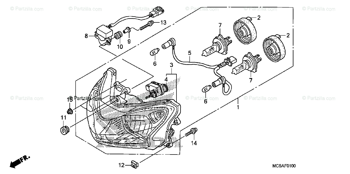 Honda Motorcycle 2007 OEM Parts Diagram for Headlight