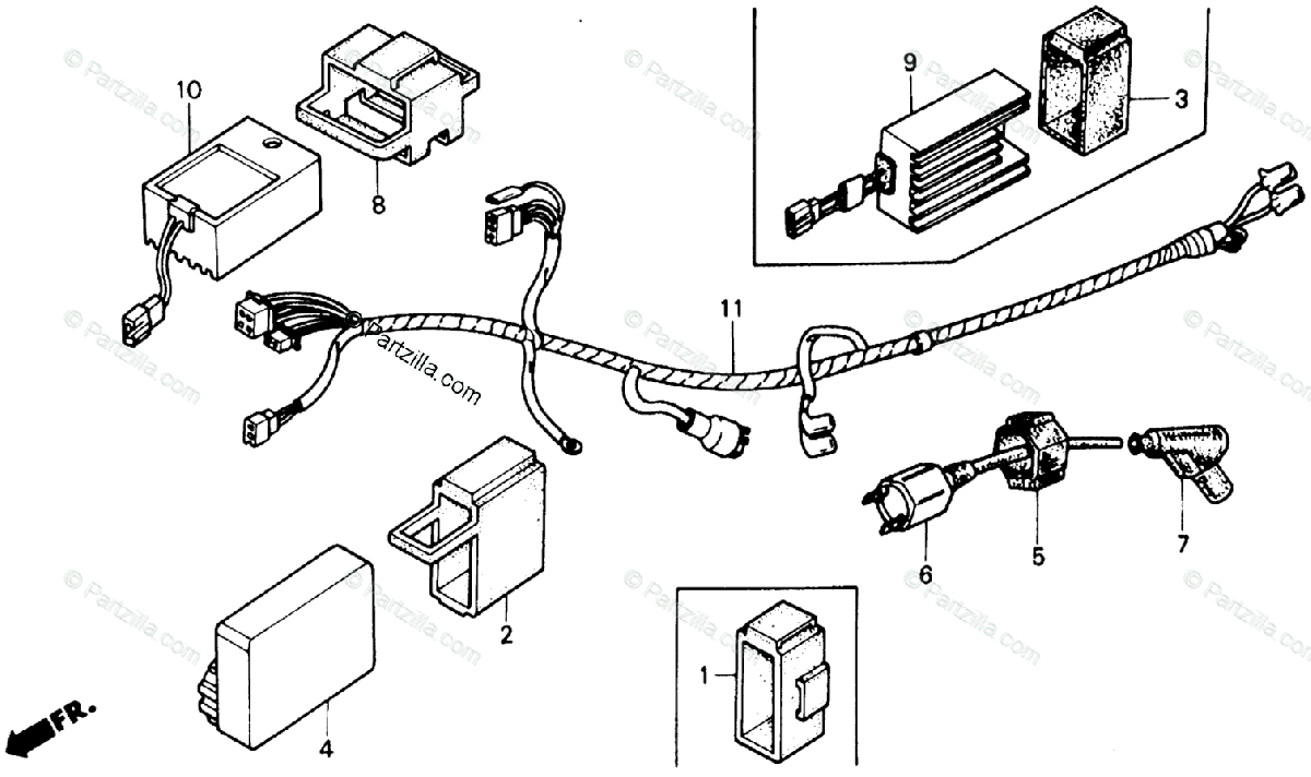 Honda ATV 1989 OEM Parts Diagram for Wire Harness