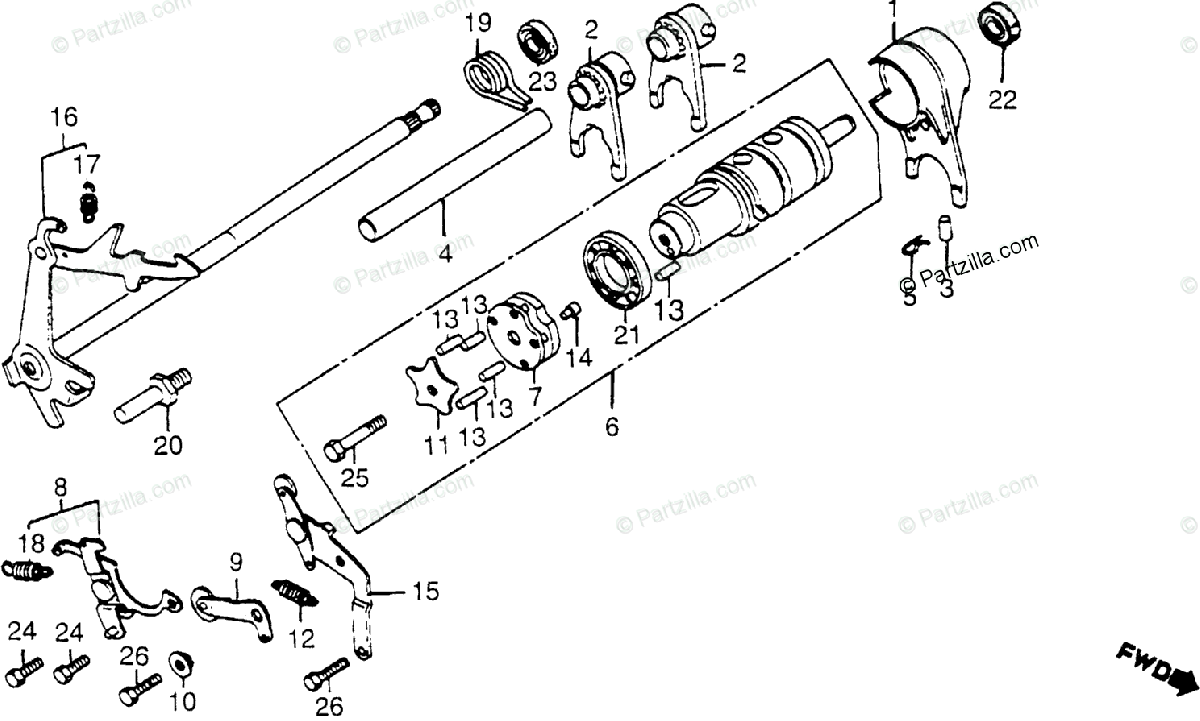 Honda Motorcycle 1979 OEM Parts Diagram for Gearshift Drum