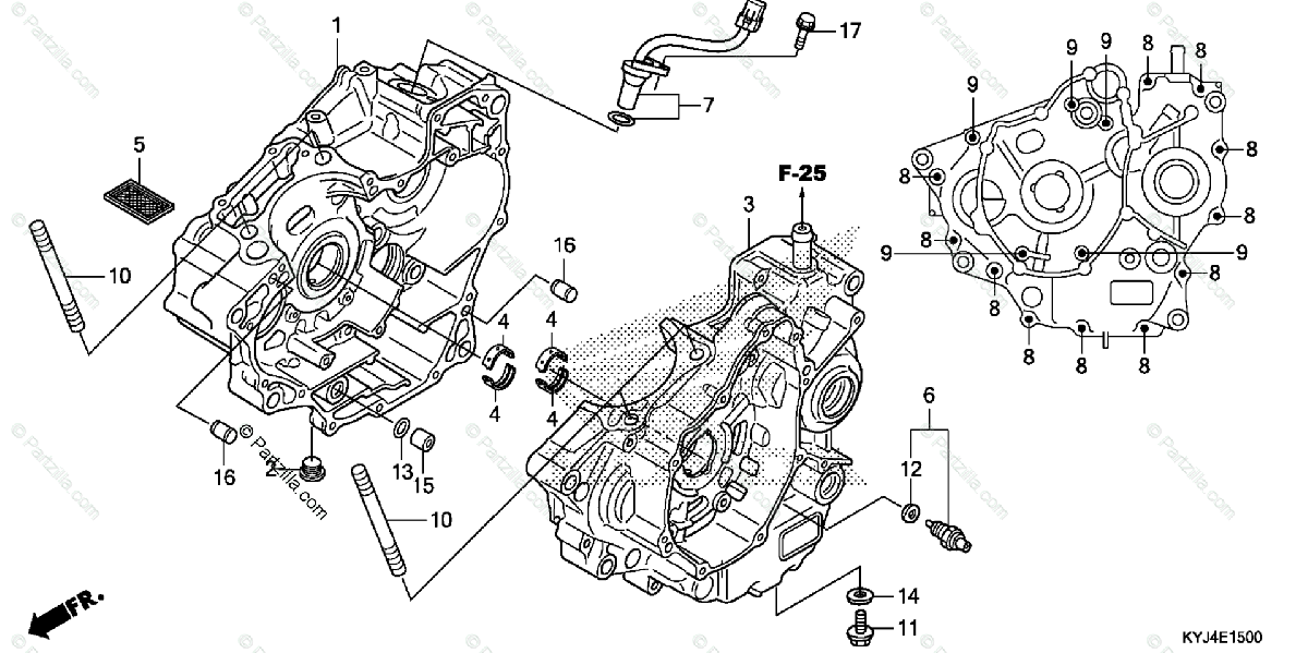 Honda Motorcycle 2012 OEM Parts Diagram for Crankcase